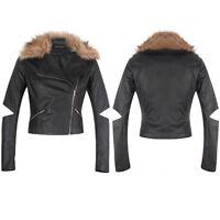 New Ladies PU Faux Leather Bomber Side Zip  Biker Black Jacket Coat Fur Collar