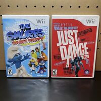 2 Game Lot- Just Dance & The Smurfs Dance Party (Nintendo Wii) Tested & CIB
