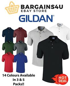 Gildan 5 or 3 Pack Classic Fit Mens Ultra Cotton Plain Pique Polo Shirt T-Shirts
