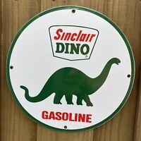 VINTAGE SINCLAIR GASOLINE PORCELAIN METAL SIGN USA GREEN DINO DINOSAUR GAS PLATE