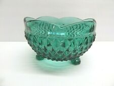 Vintage Indiana Diamond Point Teal 3 Footed Scalloped Bonbon Candy Dish Bowl