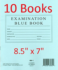 """TestingForms.com 8.5"""" x 7"""" Examination Blue Book 8 Sheets 16 Pages 10 Booklets"""