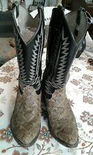 Women's Snakeskin and Black Leather Vintage Western Boots Shoes 9 1/2 Ee
