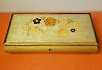 Italian Inlaid Wood Music Box- Red Velvet Lined Floral Jewelry Trinket Soap Box