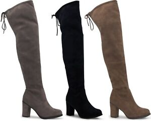 Ladies Thigh High Boots Womens Over The Knee Long Zip Lace Up Block Heel Shoes
