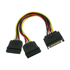 """8"""" Inch (20cm) 15-pin SATA Male to Dual Female Power Splitter Y Cable Adapter"""