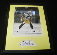 AJ Hawk Signed Framed 11x14 Photo Display Packers SNOW Ohio State