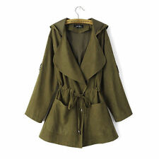 Women Warm Hooded Long Coat Jacket Ladies Trench Windbreaker Parka Outwear JM