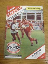 02/04/1989 liga de rugby programa: Salford V Halifax (puntuación en la espalda, Bo plegado).
