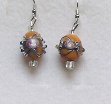 Stunning Orange Italian Glass Drop Earrings With Jewels.-)