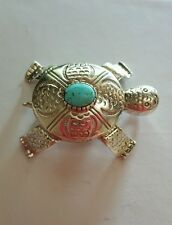 Rare Carol Felley Sterling Silver Turquoise Turtle Brooch/Pendant