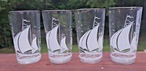 VTG Sailboat Optic Nautical Drinking Glasses Set Of 4 Silver Rim Bar Ware Mod