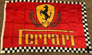 FERRARI CHECKERED BORDER RED SPORTS CAR FLAG new 3x5ft superior qlty US seller