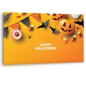 Halloween Decoration Jack o Lantern Pumpkin Bats Canvas Wall Art Picture Print