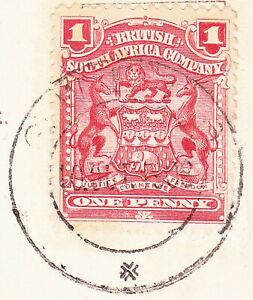 Rhodesia 1908 SUPER CWELO X AT BASE CDS ON FINE TUCKS PCARD KW TOWN ARRIVAL
