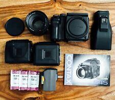 Contax 645 Af Medium Format Film Camera + 80mm F/2 Lens + Mf1+ Mfb-1A x 2 Read