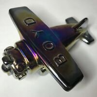 Vintage Boyd Glass AIRPLANE / PLANE Candy Holder CLASSIC BLACK CARNIVAL 1991