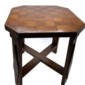 """Antique Checkered Wooden Plant Stand Stool 12.5"""" x 12.5"""" x 14"""" tall unique nice!"""