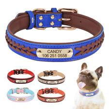 Custom Personalized Pet Dog Collar Braided Leather Engraved Nameplate Adjustable