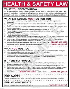 HEALTH AND SAFETY LAW A4 POSTER