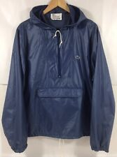 Vtg Izod Lacoste Blue Windbreaker Rain Jacket Pullover Anorak Hooded Men M