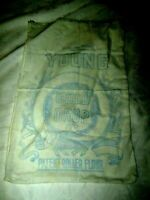 Vintage Printed Cotton 25lb Gold Drop Young N.S.W. Advertising Rolled Flour Bag