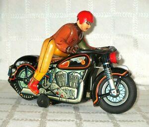 "1950's- ATOM-MOTORCYCLE EXPERT CYCLIST- TIN B/OPP TOY 11""- MODERN TOYS- JAPAN-"