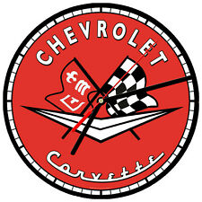"8"" WALL CLOCK - Vintage Looking Sign Garage #13 Chevrolet Corvette Sports Car"