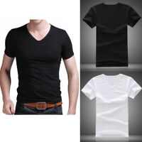 Summer Men V Neck Slim T-Shirt Tops Cotton Short Sleeve Black White Plus Size