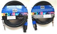 "Pair (2 pcs) 25 feet long 1/4"" to Speakon 14-Gauge Speaker Audio Cable MUSYSIC"