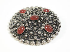Vintage Silver Tone Brooch/Pendant with Faux Garnets - Italy - Circa 1960's