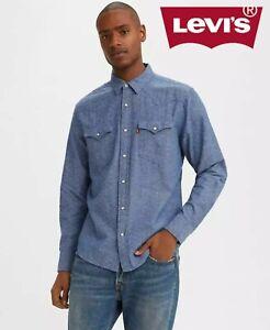 Levi's Men's Barstow Shirt Long Sleeve Denim Blue Cotton Levi Collared Shirts