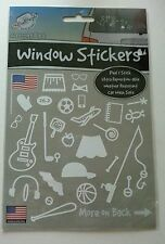 The Peel People Accessory Pack Window Stickers USA Flag,Fishing Pole,Pie & More