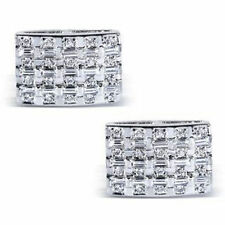 Round Baguette Cut Cuff Links For Men's Jewelry 14k White Gold Cz Love Gift Best