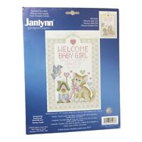 NEW Welcome Baby Girl Kitten Cross Stitch Kit Cat Bird Janlynn 080-0468 Sealed