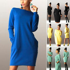 Women's Autumn Winter Long Sleeve Knitted Sweater Bodycon Slim Party Mini Dress