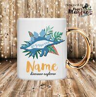 Dinosaur Explorer Personalised 11oz Gold Handle Mug - Funny Birthday Gift Kids
