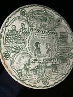 """Vintage PENNSYLVANIA DUTCH COUNTRY Amish Green Collector Plate UNIQUE 9"""" ❤️sj7m"""