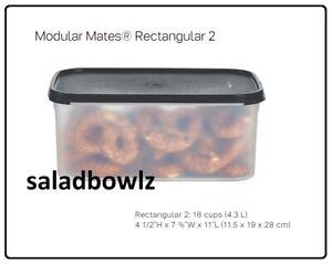 TUPPERWARE MODULAR MATES RECTANGULAR 2 CONTAINER Store Keep BLACK 18 cup fREEsHP