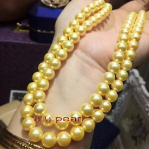 """LONG AAAAA 36""""10-11MM NATURAL real south sea golden pearl necklace 14K gold"""