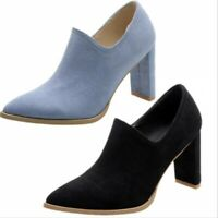Women Slip On Block Chunky Heel Closed Pointy Toe Pumps Classic Spring Shoes New