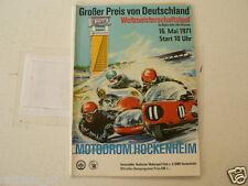 1971 GROSSER PREIS VON DEUTSCHLAND MOTORRADER HOCKENHEIM RENNPROGRAMM 16-5-1971,
