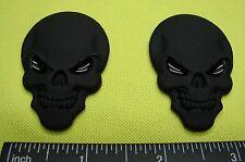 SKULL 3D METAL EMBLEM DECAL STICKER LOGO MATTE BLACK METAL FOR CARS -SET OF TWO