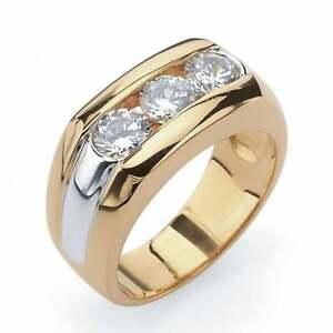 1.50 Ct DEF White Brilliant Moissanite Three Stone Men's Ring in 14K Yellow Gold