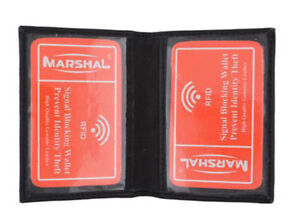 RFID Blocking Black Men's Leather Bifold Wallet 2 ID Front Pocket Card Holder