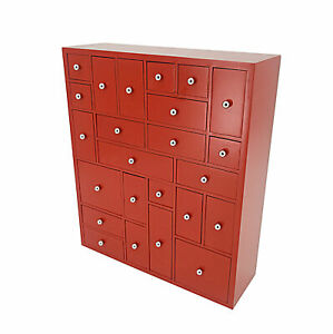 Christmas Advent Calendar Woodbox Drawer Herb Cabinet Apothecary Chest Organizer