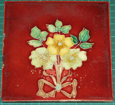 Antique 6x6 Decorative Tile with Yellow & Cream Primroses(?) on Red Background