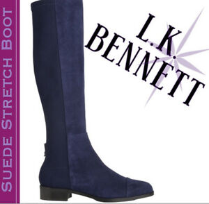 LK Bennett Blue Suede Knee-High Stretch Boots Brand New In box And Gorgeous!!