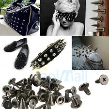 100Pcs 10mm Black Spots Cone Screw Metal Studs Leathercraft Rivet Bullet Spikes