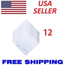 12 Pcs White Cotton Men Handkerchiefs Hanky Pocket Square Hankie Lot Set Vintage